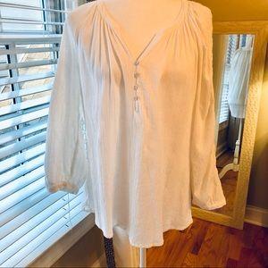 Gauze Peasant Blouse Creamy White sz. XL